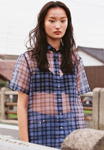 ORGANZA HALF SLEEVE CHECK SHIRT