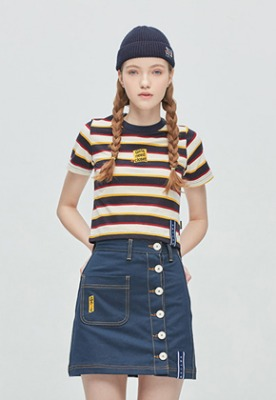 GNAC Striped Crop T Shirt_Oatmeal