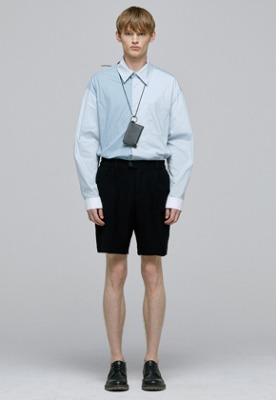 BLUE colorblock semioversize shirts(IT003)