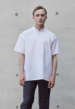 WS#12 STAND COLLAR WOVEN TEE - WHITE