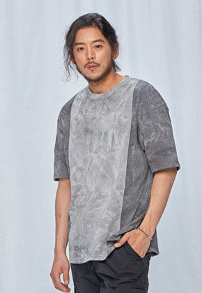 Tie dyed coloration tee _ charcoal