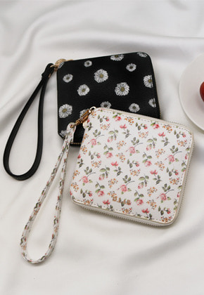[스트랩 증정] D.LAB Flower zipper wallet - Rose or Daisy