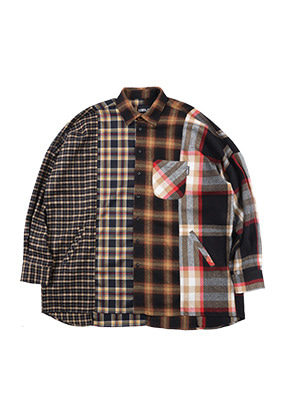 (9월 20일 예약배송) Oversized Check Mixed Shirt (Yellow)