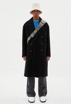 UNISEX CASHMERE NEW JONAS OVERSIZED COAT awa273u(Black)