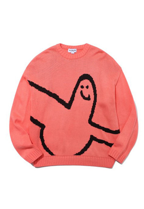 M/G BIG ANGEL CREWNECK KNIT PINK