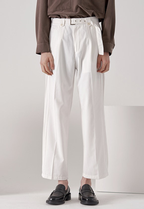 wide pintuck belted pants (white)