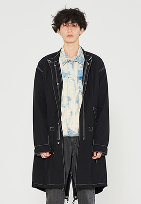 STITCH CONTRAST FISHTAIL PARKA BLACK