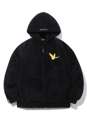 M/G ANGEL BOA ZIP UP HOODIE BLACK