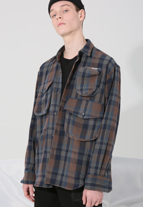 CARGO ZIPPER SHIRTS (BROWN CHECK)