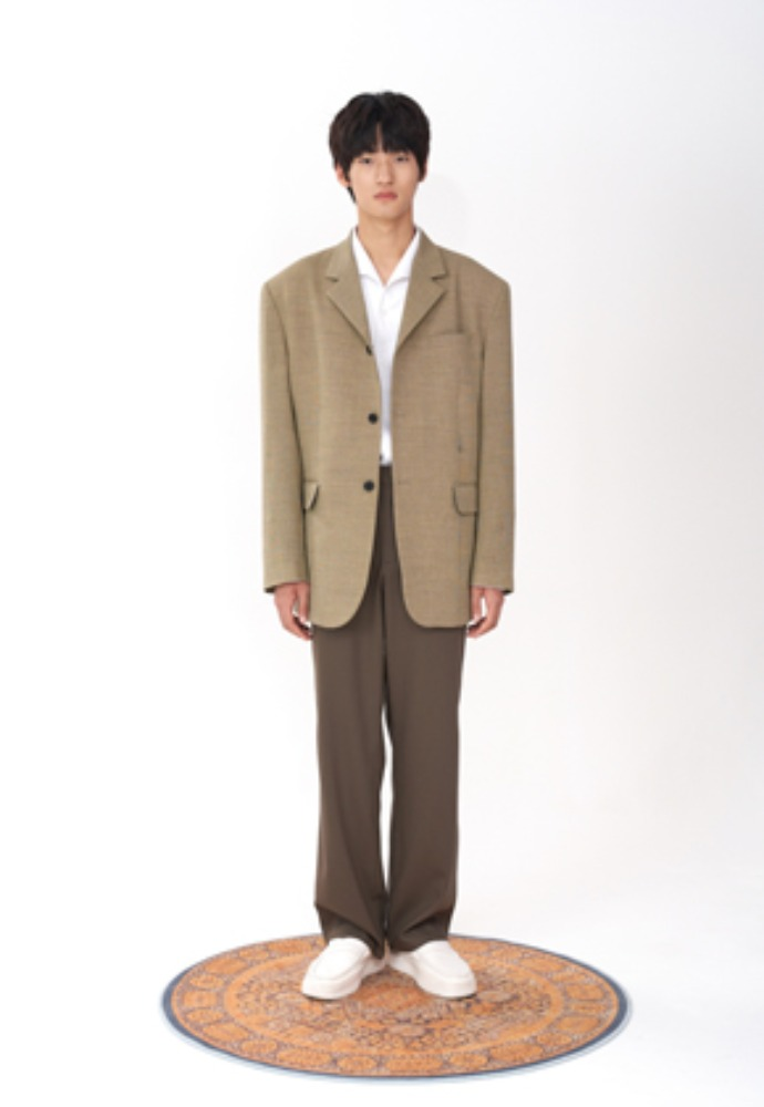 (LLUD x STU) 3 Button Overfit hook Blazer Yellow