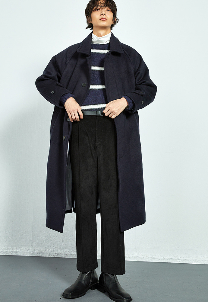 NAVY alpaca oversized long balmacaan coat(KJ036)