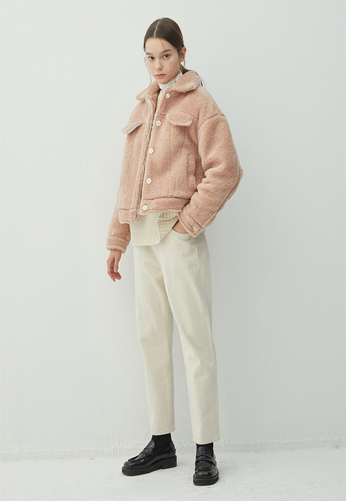 PEACH shearling effect trucker jacket(HJ010)