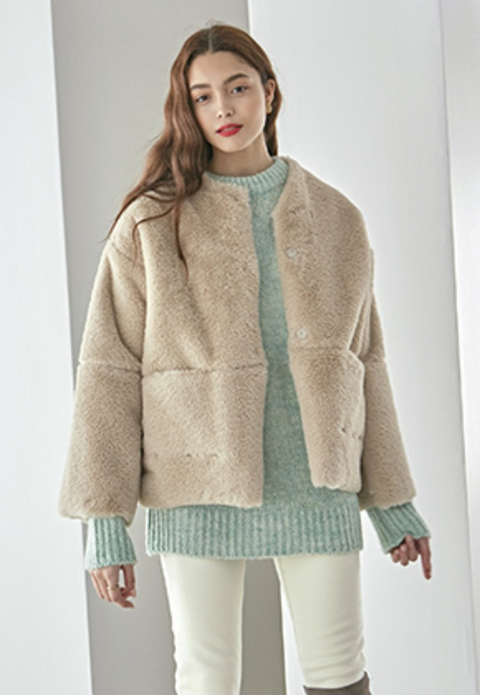 NO COLLAR FUR HALF JACKET_BEIGE