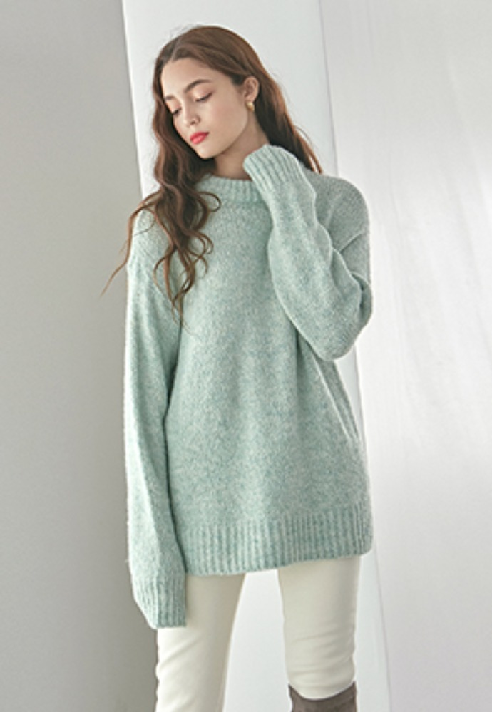 WOOL LOOSE R SWEATER_MINT