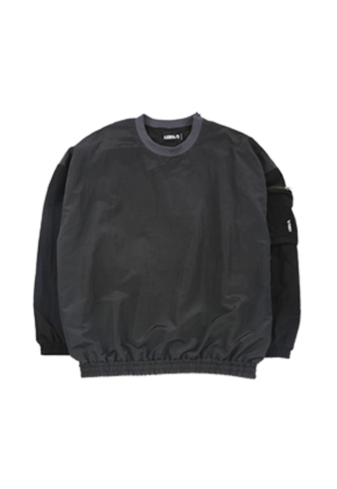 Oversized Bomber Nylon Sweatshirt [Charcoal]