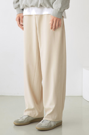 NOUN노운 wave stitch wide banding pants (ivory)