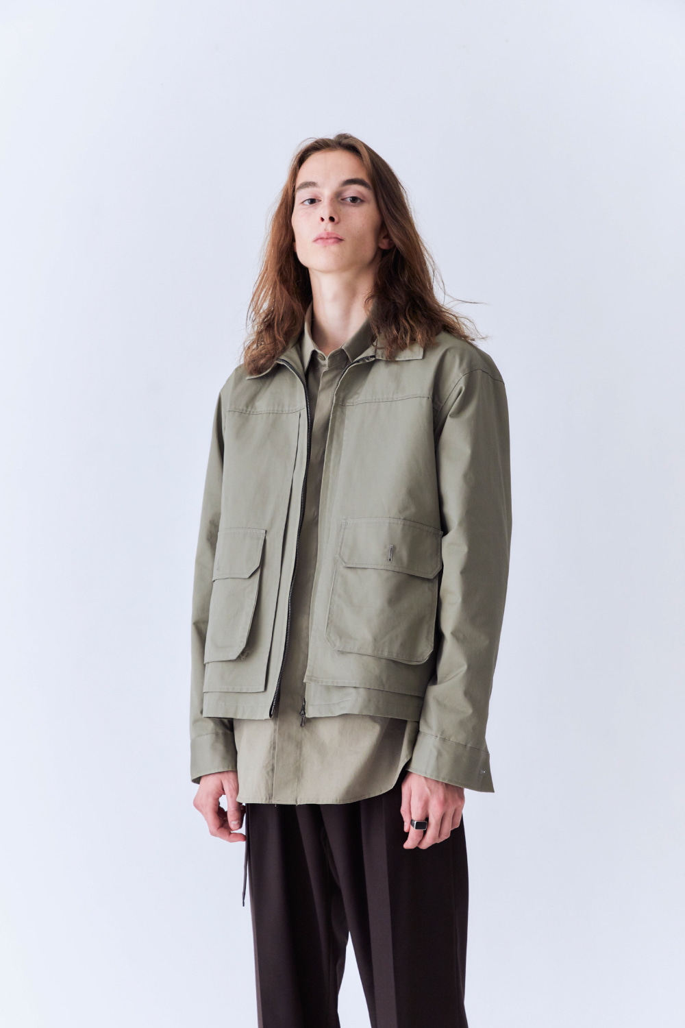 OURSCOPE아워스코프 Zip-up Double Layered Jacket (Light Olive)
