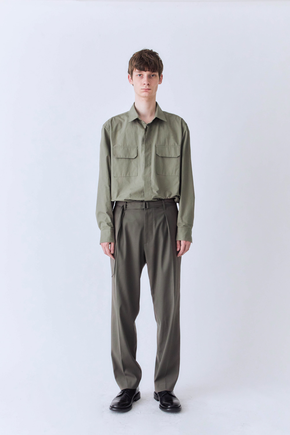 OURSCOPE아워스코프 Hidden Button Shirts (Light Olive)