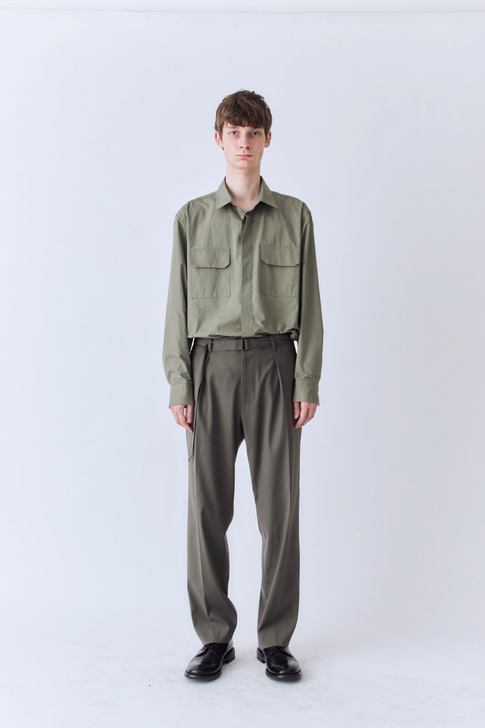 OURSCOPE아워스코프 [Restock] Belted Crease Pants (Light Olive)