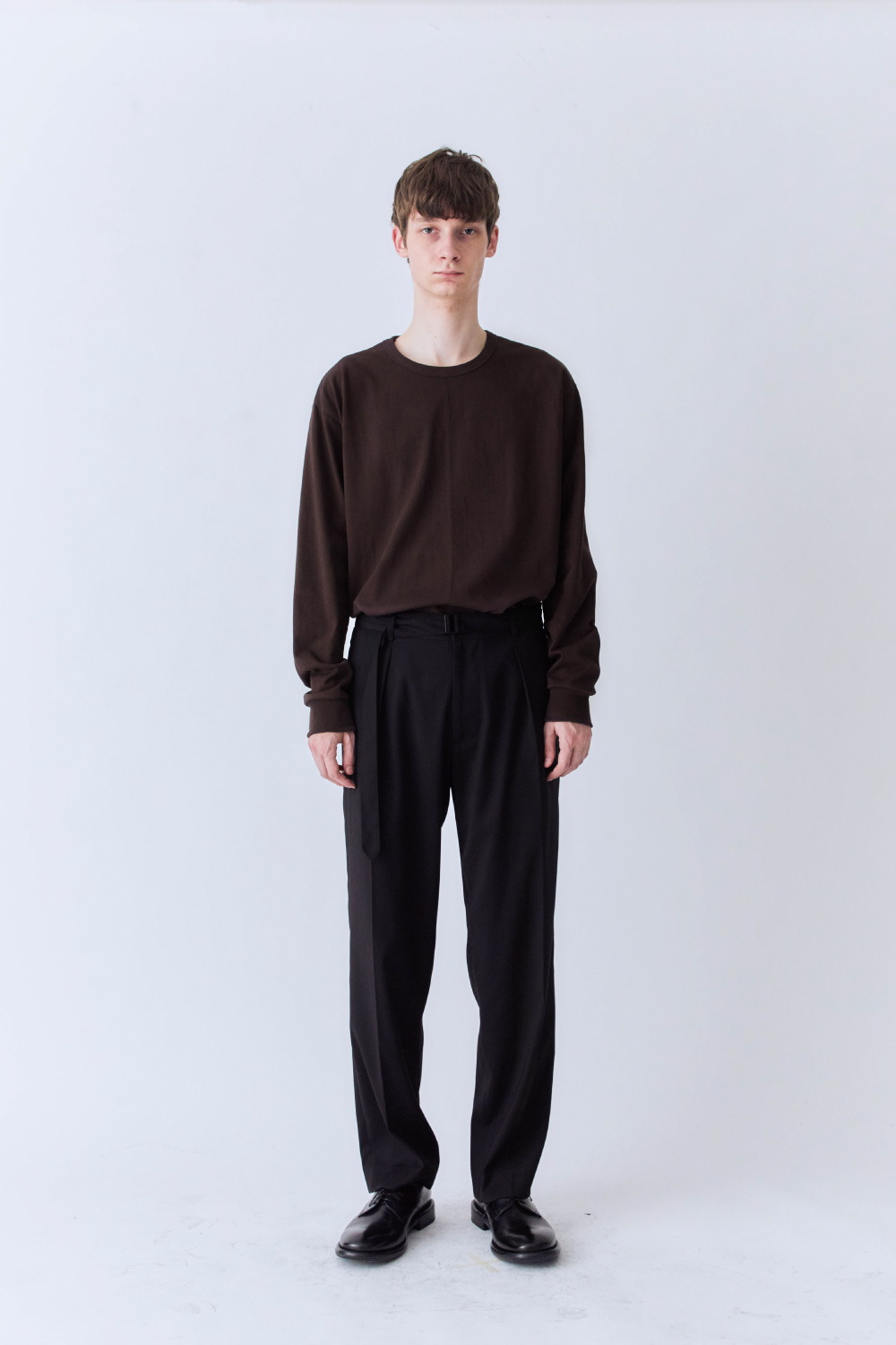 OURSCOPE아워스코프 Belted Crease Pants (Black)