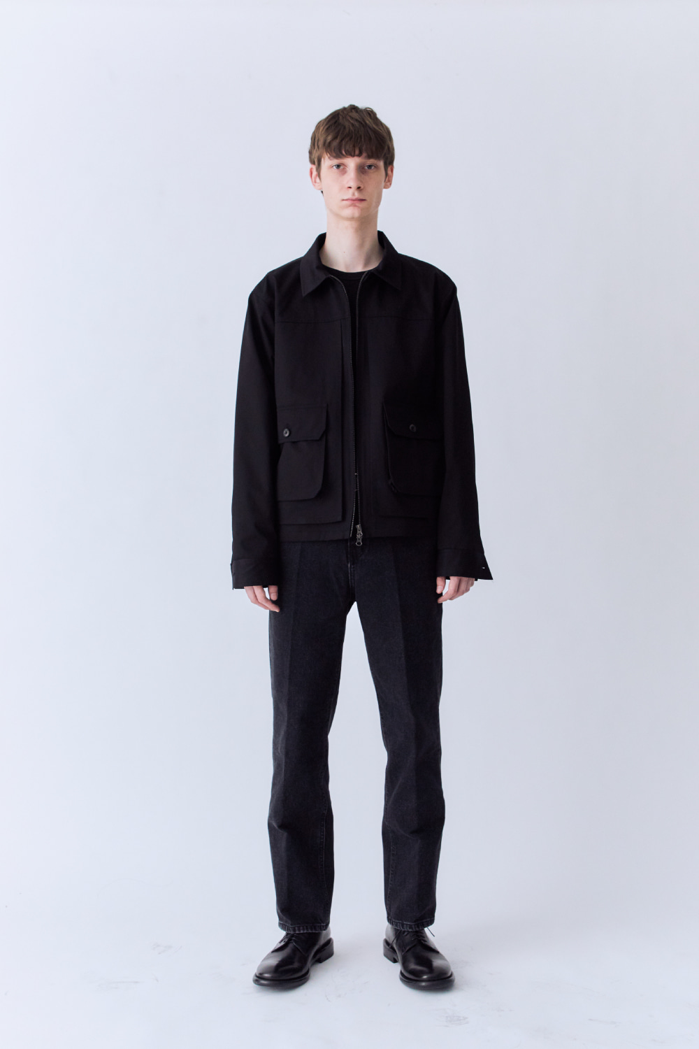 OURSCOPE아워스코프  Zip-up Double Layered Jacket (Black)