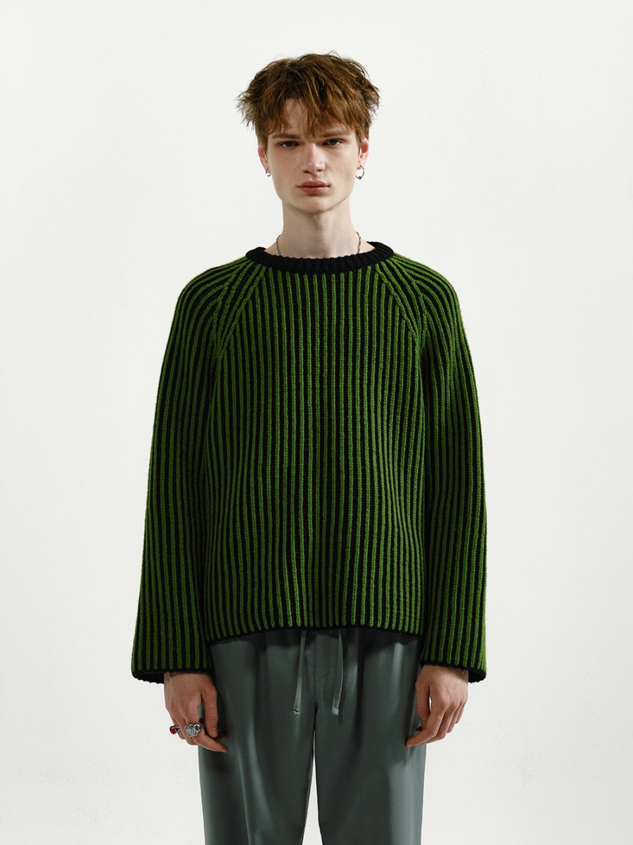 YOUNGOH영오 TWO TONE RAGLAN SWEATER GREEN/BLACK