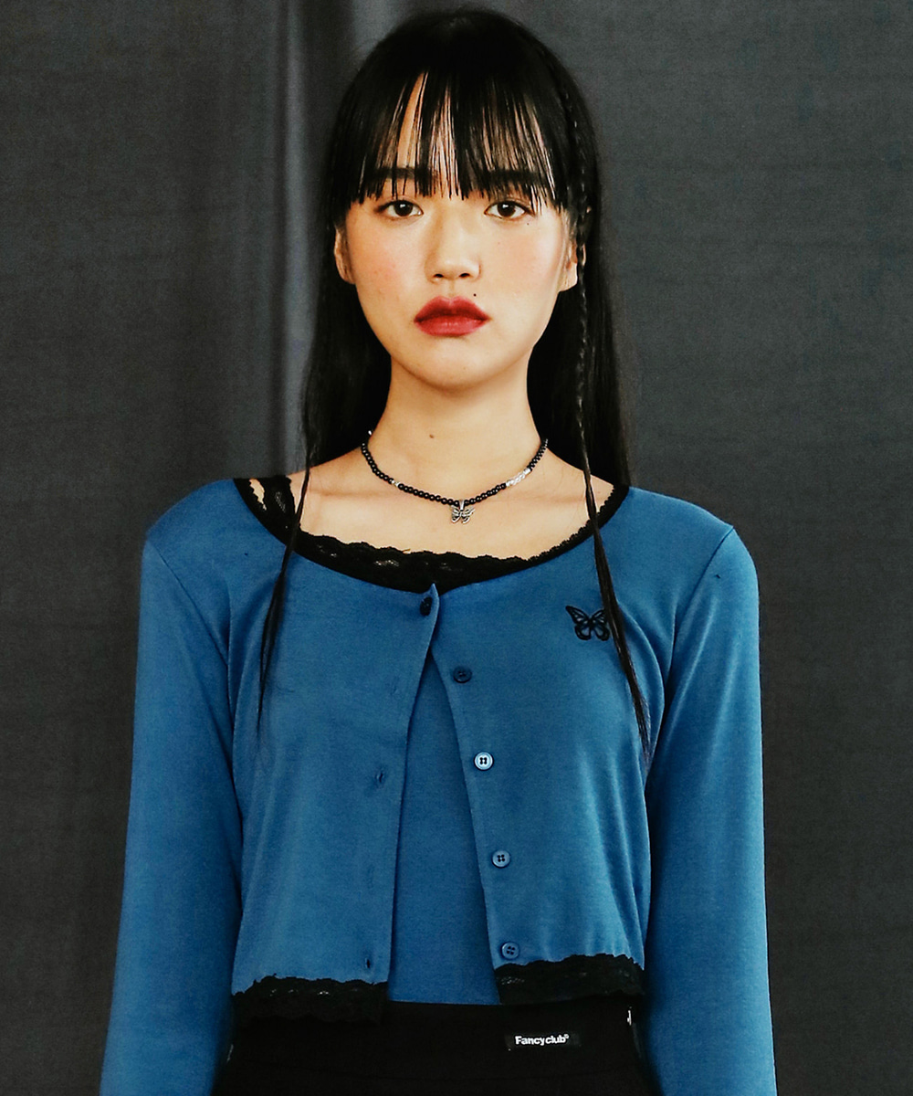 NASTY FANCY CLUB네스티팬시클럽 [NF] LACE POINT LONG SLEEVES TEE (BLUE)(20FW-F560)
