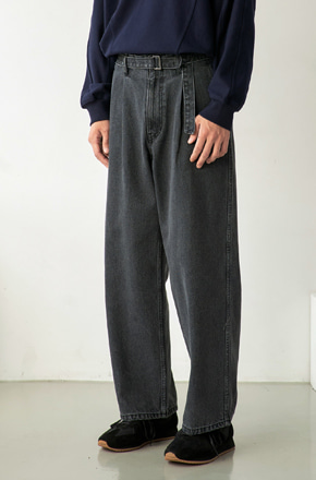 NOUN노운 belted wide denim pants (grey/black stitch)
