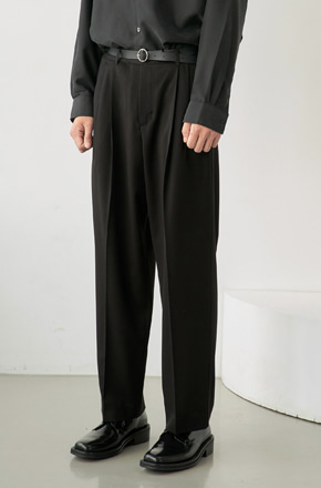 NOUN노운 wide tapered pants (black)