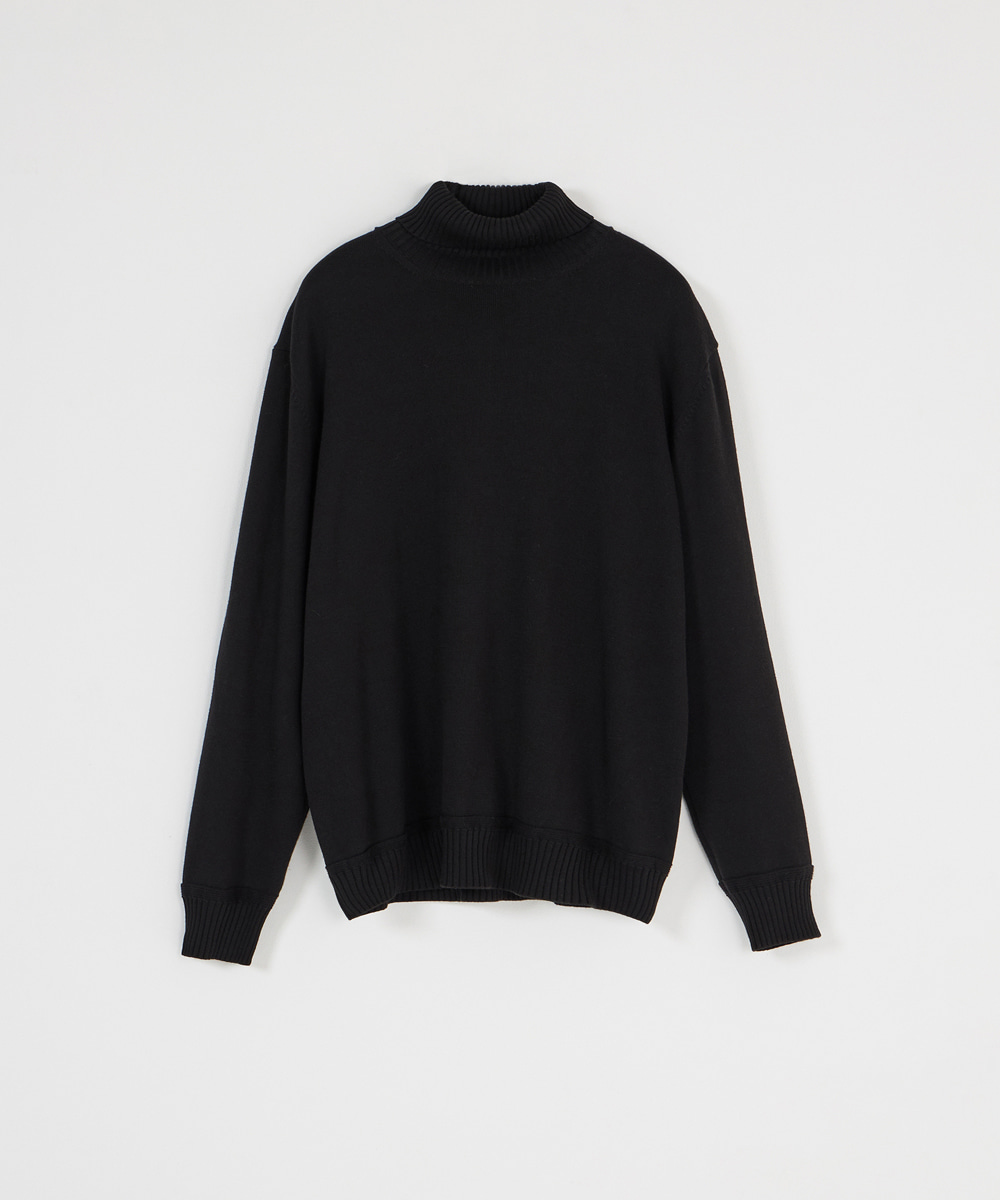 YOUTH유스랩 Knit Turtle Neck T-shirt Black