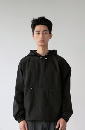 NOUN노운 hooded woven anorak (black)