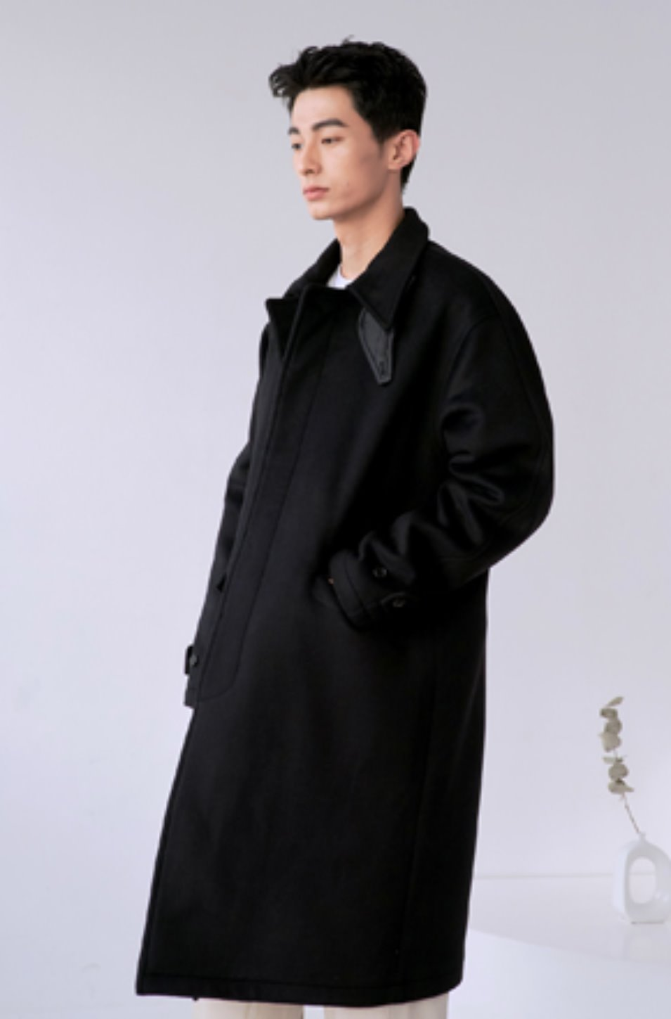 NOUN노운 balmacaan heavy coat (black)
