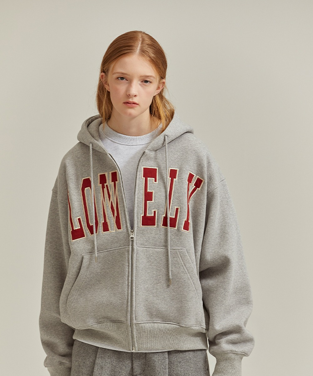 NOHANT노앙 LONELY/LOVELY HOODIE ZIP-UP GRAY