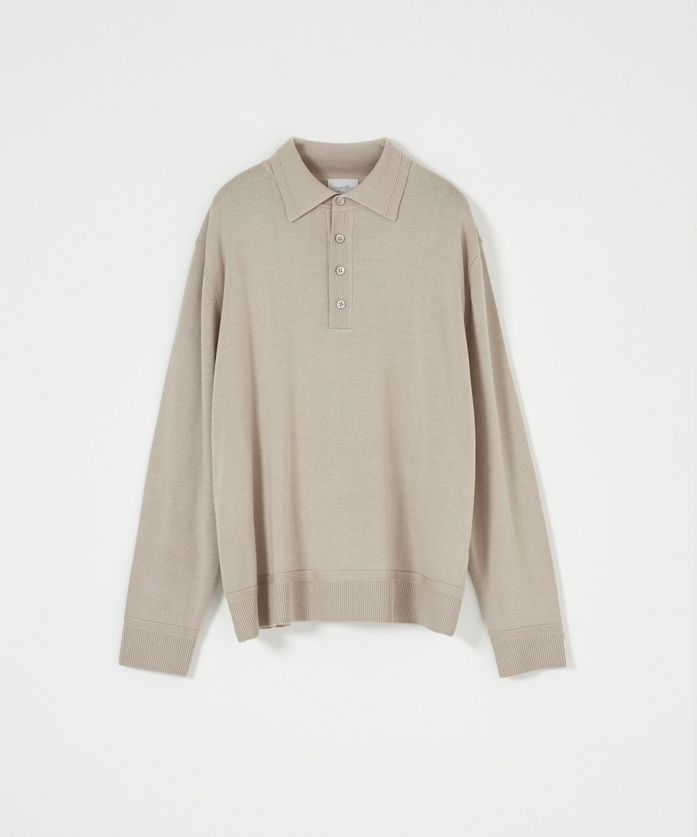 YOUTH유스랩 Knit Collar T-Shirt Beige