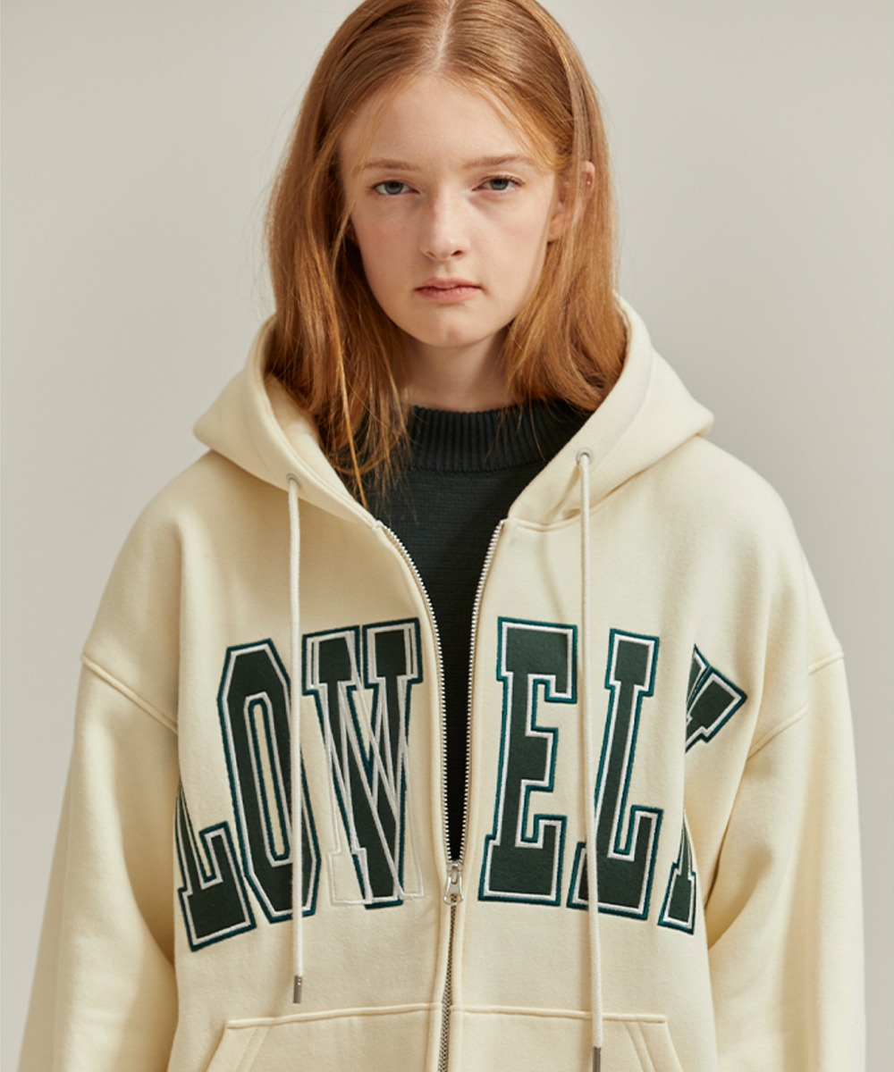 NOHANT노앙 [당일발송]  LONELY/LOVELY HOODIE ZIP-UP IVORY