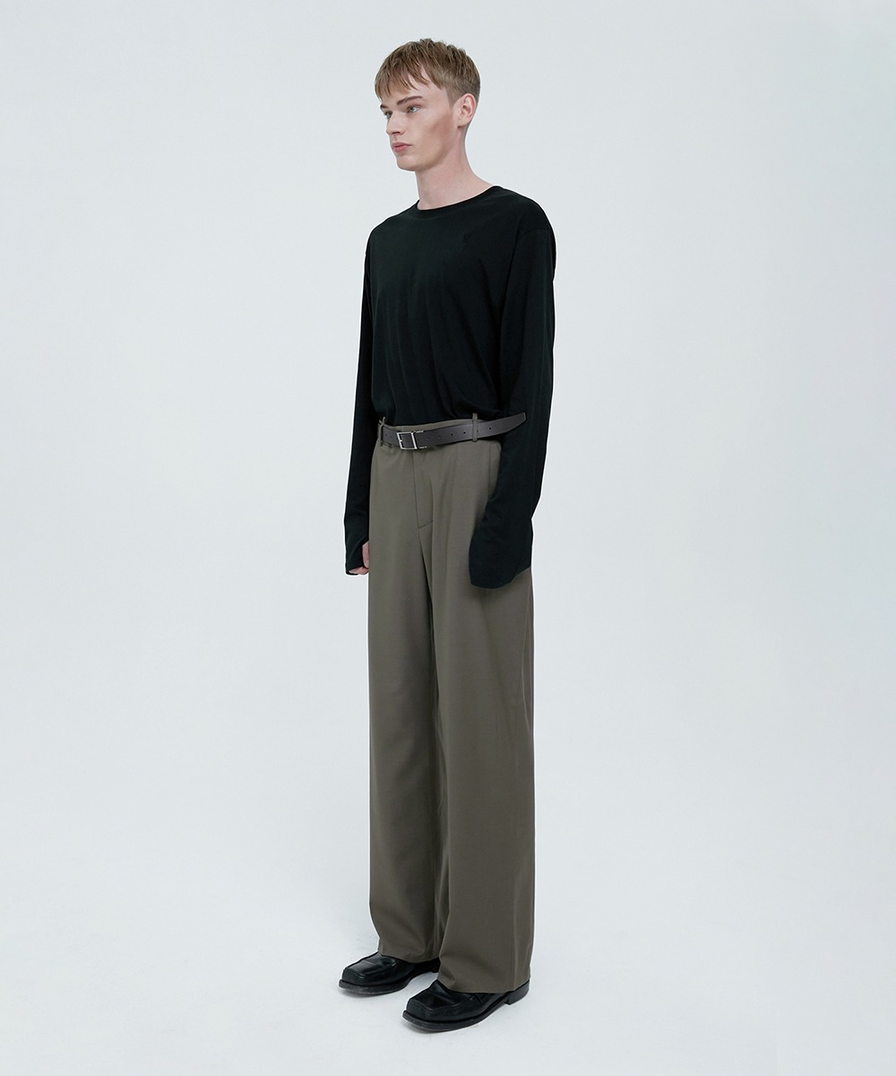 YUSE유즈 FOR MEN, SIGNATURE WOOL LOOSE STRAIGHT TROUSERS - KHAKI