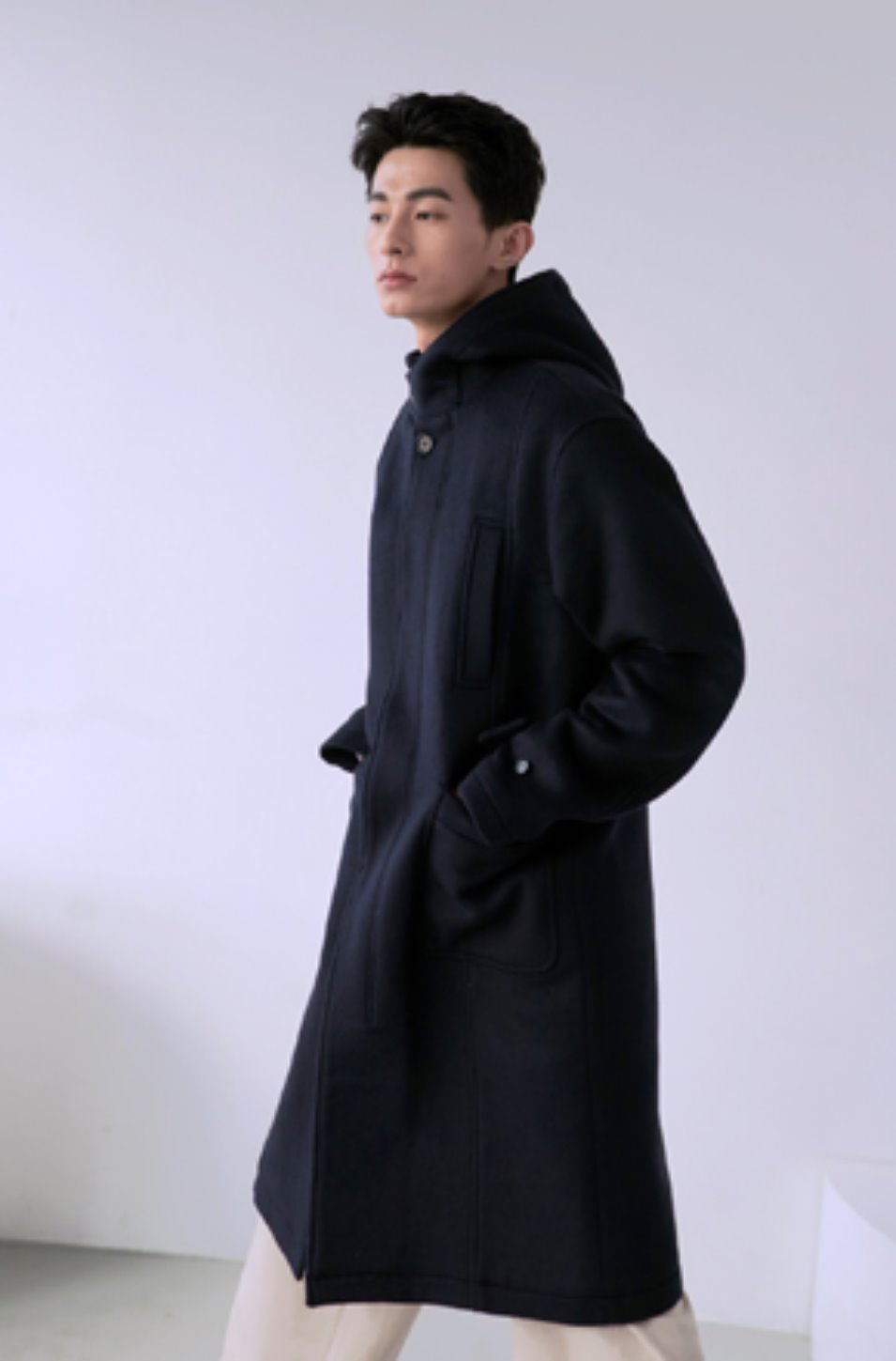 NOUN노운 hooded single breasted coat (navy)