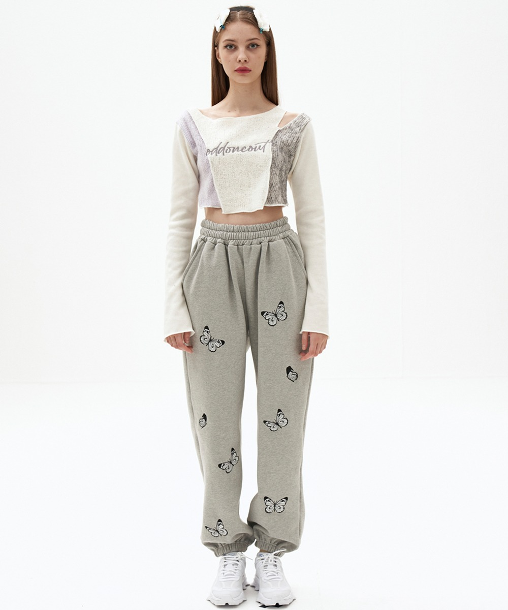 ODD ONE OUT오드 원 아웃 [1/29 발송예정] Butterfly needlework sweatpants_GY