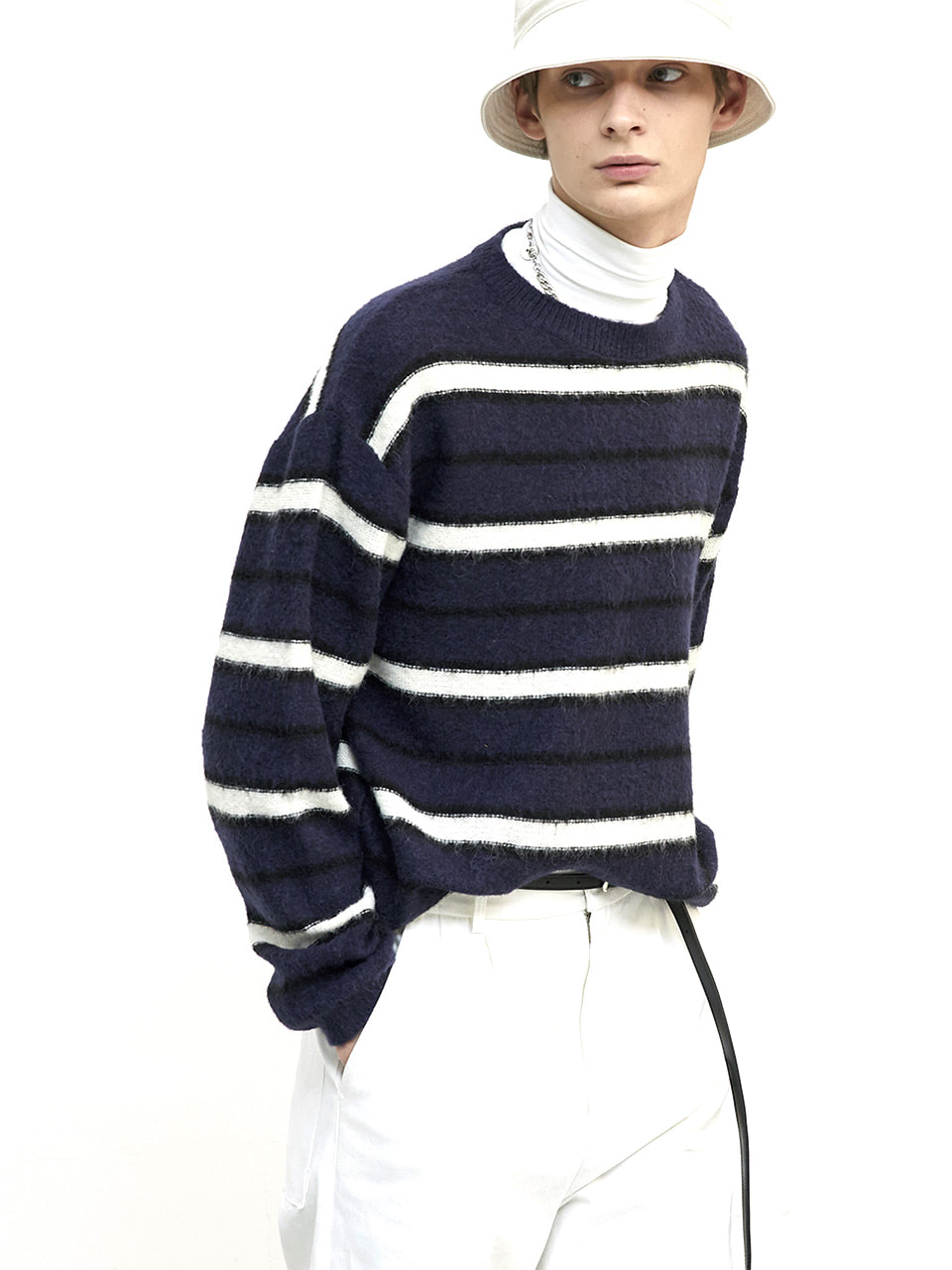 HALEINE알렌느 BLUECREAM blushed mohair stripe knit (MT101)