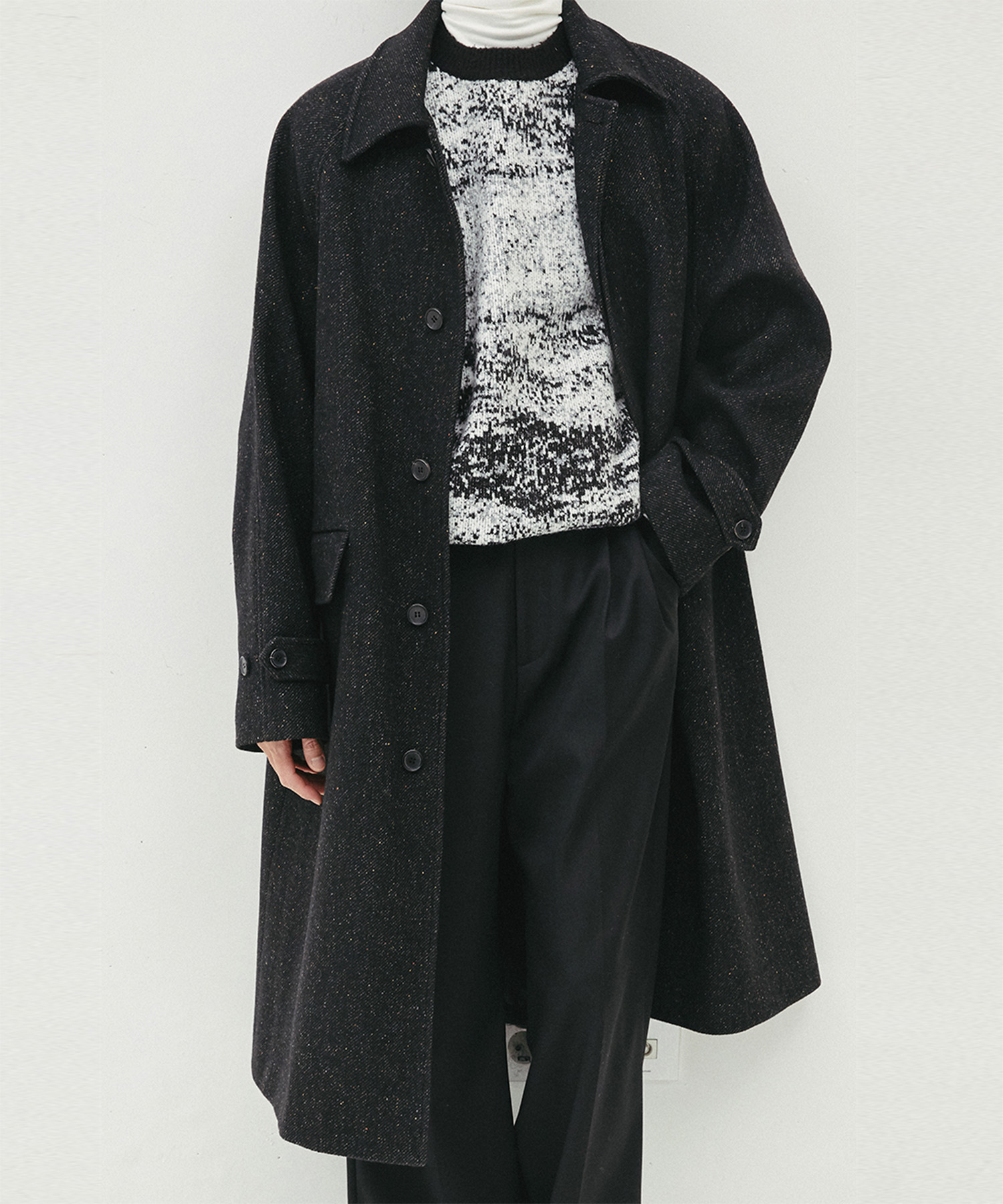 HALEINE알렌느 BLACK neff wool wool 3D detail balmacancoat(MJ705)