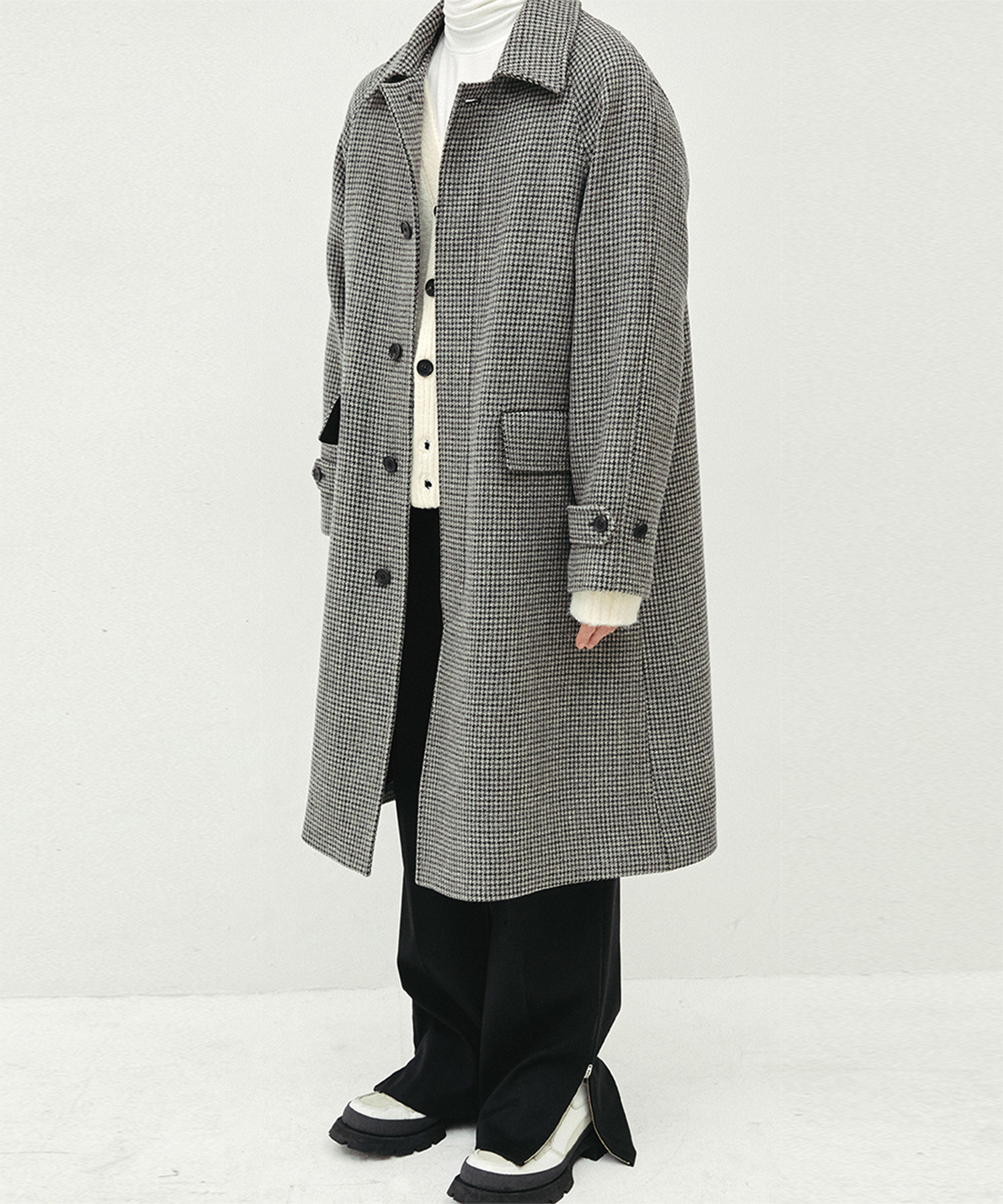 HALEINE알렌느 GREYCHECK wool 3D detail balmacancoat(MJ704)