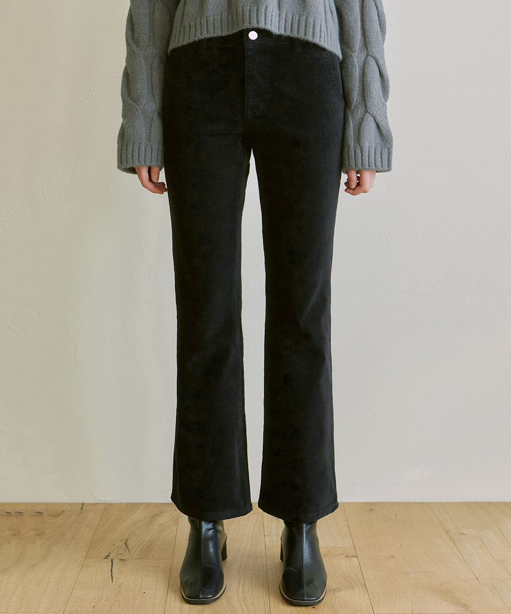 YAN13얀13 CORDUROY SEMI BOOTCUT PANTS_BLACK