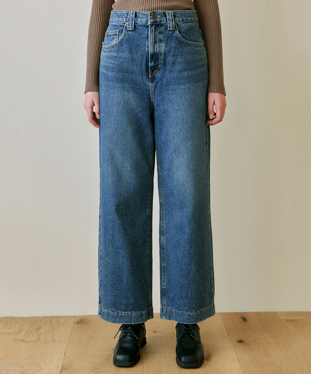 YAN13얀13 STITCH WASHING WIDE JEAN_DENIM
