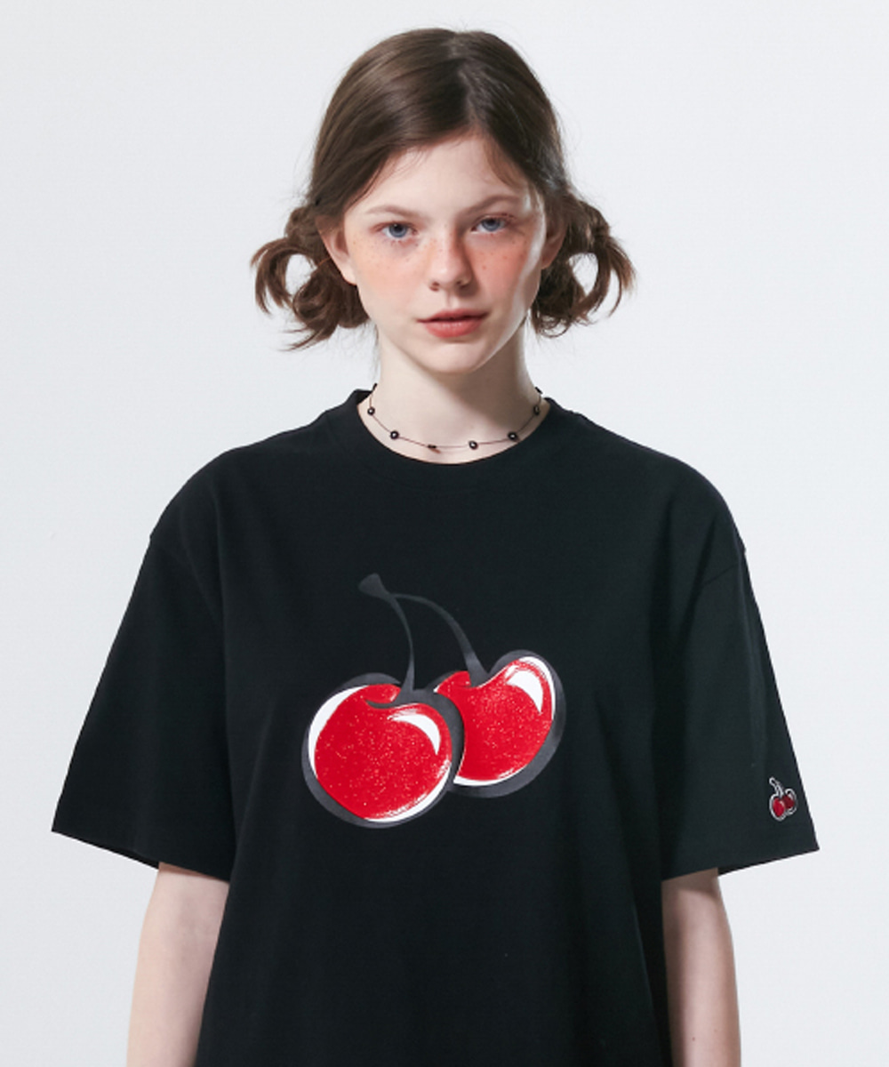 KIRSH키르시 BIG CHERRY JELLY T-SHIRT KS [BLACK]