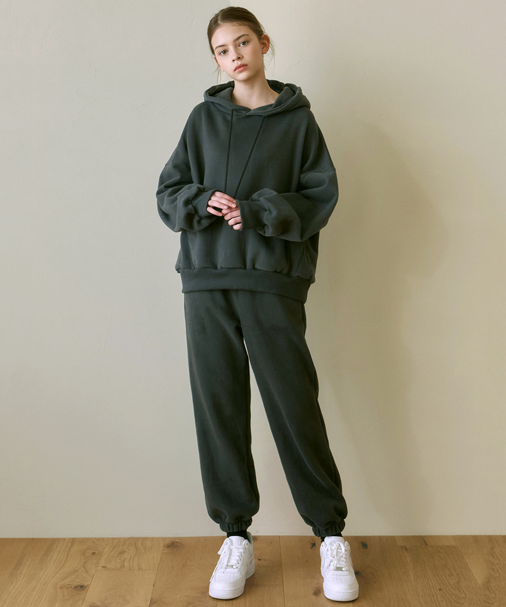 YAN13얀13 GIRLISH SWEAT HOODY+PANTS SET_CHARCOAL