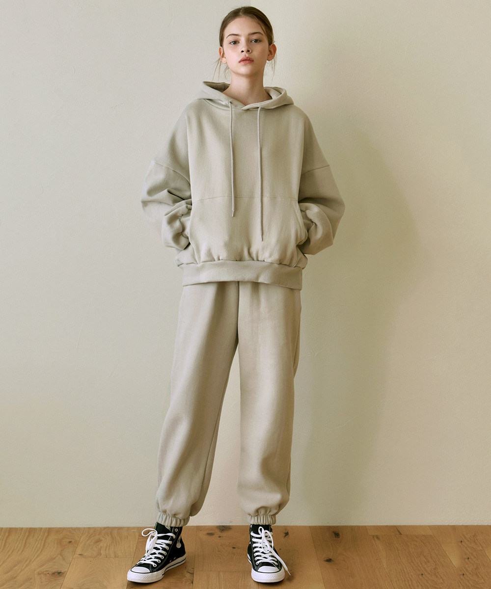 YAN13얀13 GIRLISH SWEAT HOODY+PANTS SET_LIGHT BEIGE