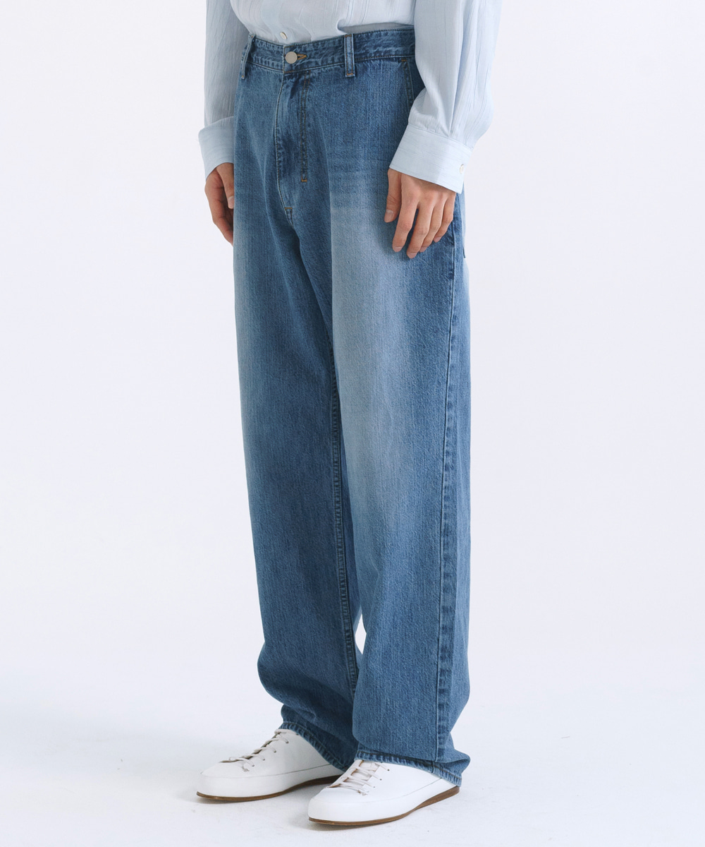 NOUN노운 wide tapered denim pants (light blue)