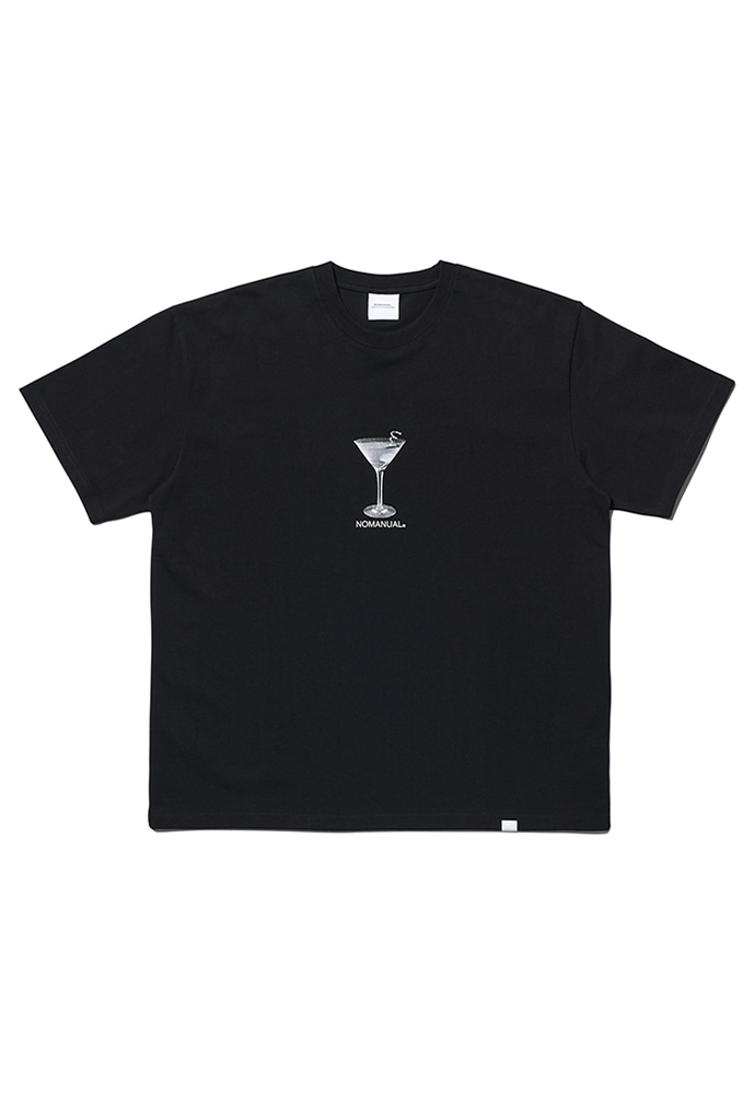 NOMANUAL노메뉴얼 MARTINI T-SHIRT - BLACK