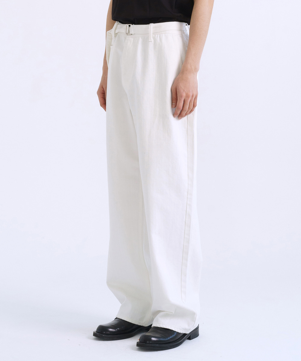 NOUN노운 belted denim pants (white)