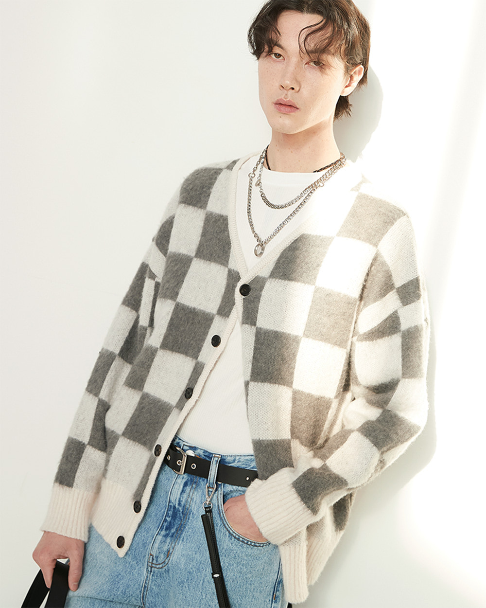 HALEINE알렌느 GREYCREAM chekered mohair reversible cardigan(NJ013)